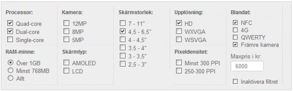 Mobiljämförelser på Androidenheter.se