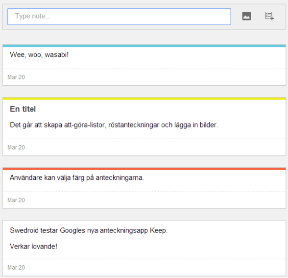Google Keep på webben