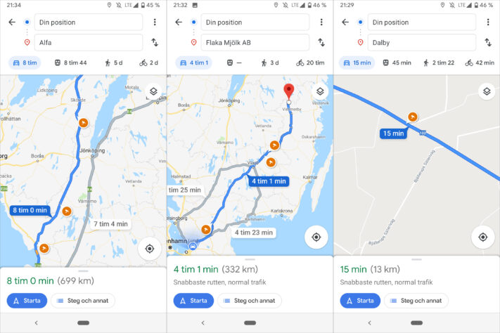 Google Maps is supported to display speed cameras in Sweden